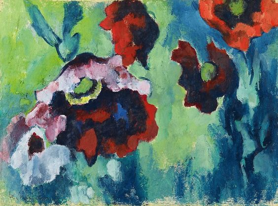 Heinrich Nauen (German, 1880-1940) | Roter und blaßvioletter Mohn vor blaugrünem Grund