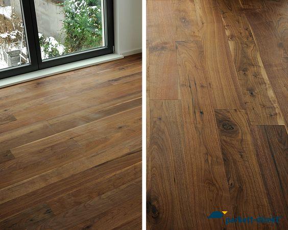 Schöne Fotos von unserer edlen Nussbaum Landhausdiele.  Weitere Infos finden Sie hier:  http://www.parkett-direkt.net/fertigparkett-landhausdiele-nussbaum-dunkel-classic-geschliffen-lackiert-klick-14mm-canyon-168601.html  #parkett #diele #nussbaum #floorings # walnut #plank