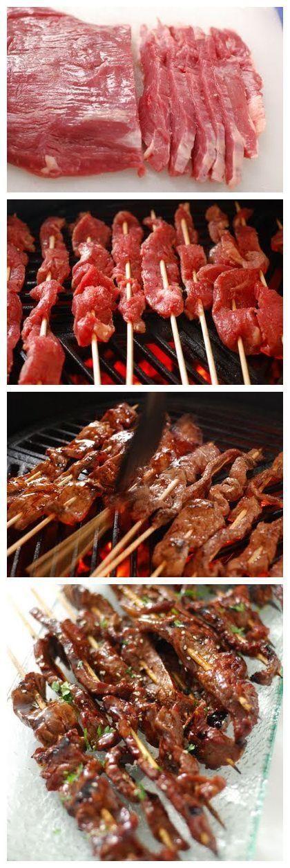 BBQ Beef Teriyaki -1 flank steak, 16 bbq skewers, 2 tsp sesame oil, salt, pepper, Teriyaki Glaze: 1 cup soy sauce, 1/2 cup brown sugar, 2 Tbsp honey, 1 Tbsp mirin, 1 Tbsp garlic, minced, 1 tsp ginger, minced, 1 Tbsp cornstarch, and 1/4 cup cold water.