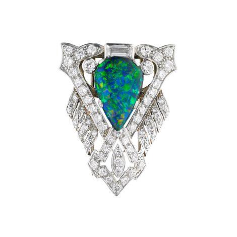 Jan Logan bespoke platinum opal & diamond brooch