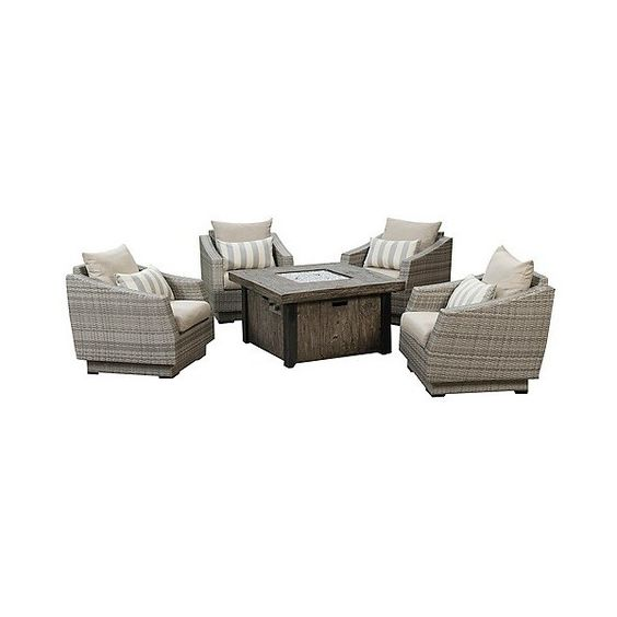 Patio Seating Set: Cannes 5-Piece Fire Chat Set: Slate Grey, Silver (5,135 CAD) ❤ liked on Polyvore featuring home, outdoors, patio furniture, silver, outside patio furniture, outdoor garden furniture, 5 piece outdoor furniture, outdoor patio furniture and outdoor seating sets
