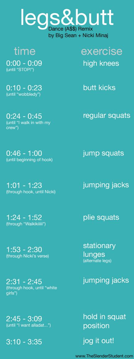 legs + butt + cardio workout to music! this entire website is great.