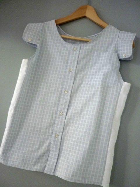 comment transformer une chemise d 39 homme en haut pour femme recyclage tuto couture sewing. Black Bedroom Furniture Sets. Home Design Ideas