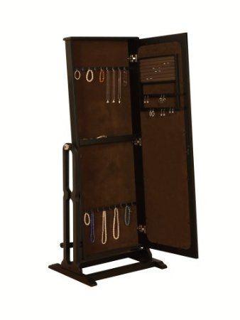 Amazon.com: Powell Dakota Cheval Jewelry Wardrobe with Full-Length Mirror, Antique Black: Home & Kitchen