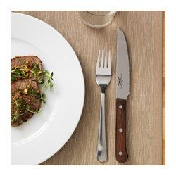 IKEA - LINDRIG, Knife, The serrated blade makes it easy to cut meat and ideal to use for eating.The wooden handle makes the knife comfortable to hold and easy to grip.Functions as a steak knife and a utility knife.