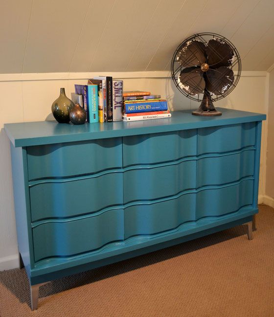 Reserved for Tina - Turquoise Painted Wave Front Dresser - Midcentury Modern, Revived Vintage