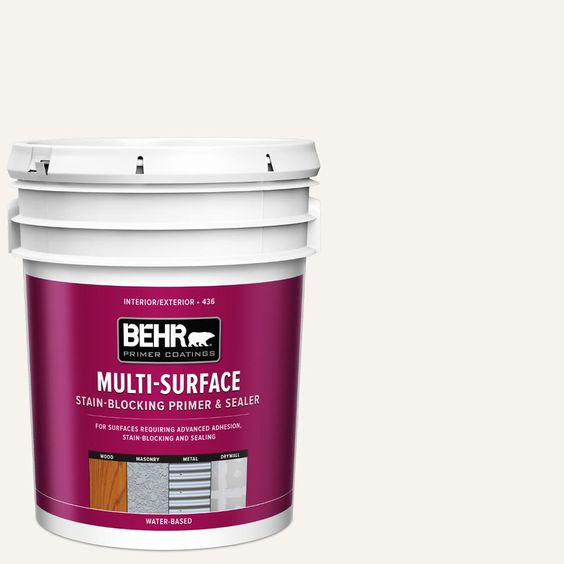 Behr 5 Gal White Acrylic Interior Exterior Multi Surface Stain Blocking Primer And Sealer 43605 Interior Exterior White Acrylics Paint Sheen