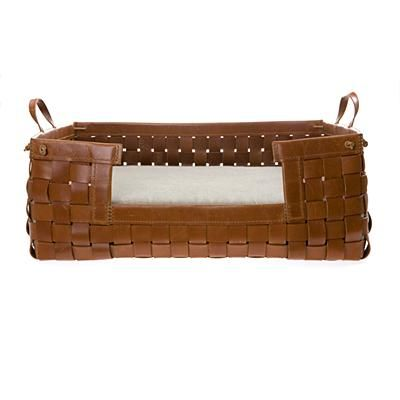 leather doggie bed. so fancy.