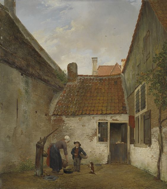 Andreas Schelfhout - A Small Courtyard