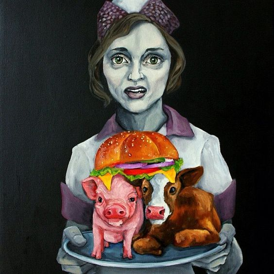 Artwork by @danaellyn, one of the best vegan artists I've come across. Her work is haunting, on-point, and brings forth the uncomfortable awareness of the consequences of our food choices. #veganart