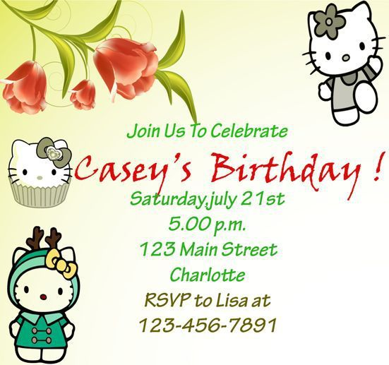 Hello kitty invitation birthday template – Invitation Birthday Template