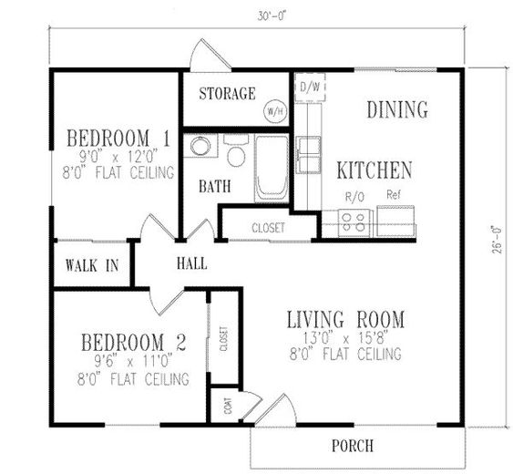 2 bedroom house plans 1000 square feet 781 square feet for Two bedroom hall kitchen house plans