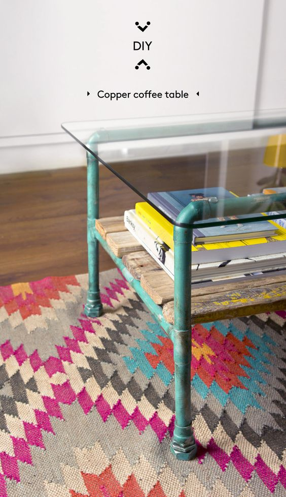 DIY copper pipe coffee table · DIY mesa de centro con tubos de cobre