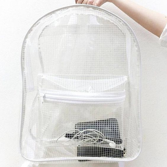 Clear Backpack Transparent Rucksack White Grid by pingypearshop