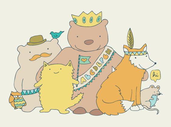 'happy animal friends' - drew this for Hanna's nursery