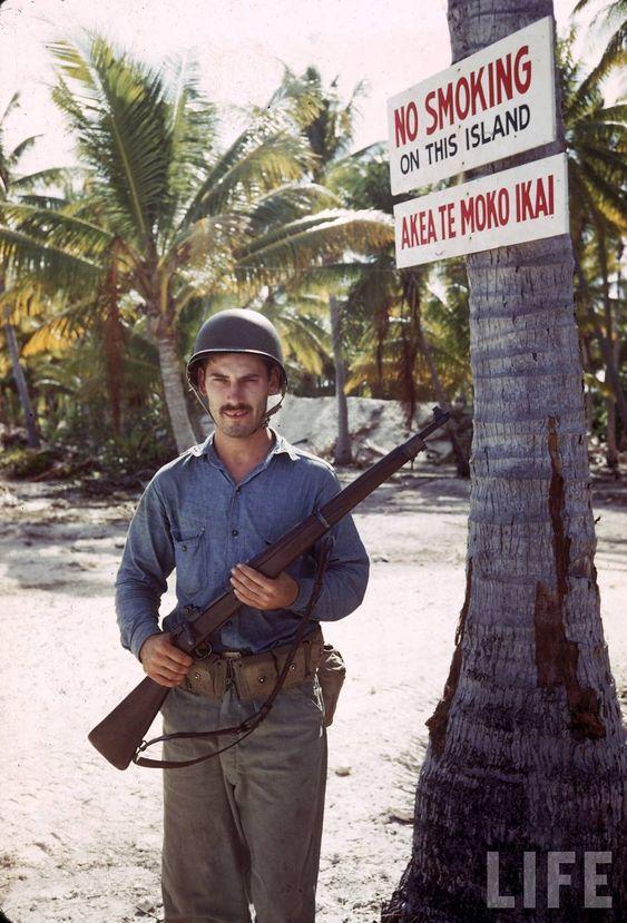 American troops on Tarawa atoll, Gilbert Islands during World War II.