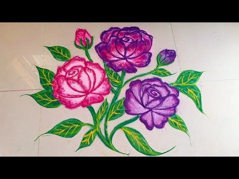 Awesome Creative Pink Color Rose Rangoli Design In 2 Min Easy Quick Simple Method By Jyoti Ra Flower Rangoli Colorful Rangoli Designs Rangoli Designs Flower