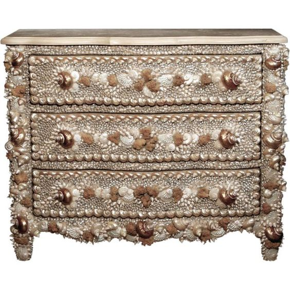 shell art furniture | Check out the deal on A Shell And Mineral Encrusted Commode at Eco ...