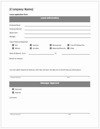 Leave Request Form Template Inspirational Leave Application Form Template Ms Word Application Form Word Template Employment Application