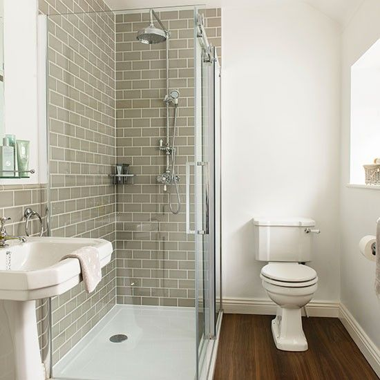 Grey and white tiled bathroom bathroom decorating for Small bathroom ideas uk