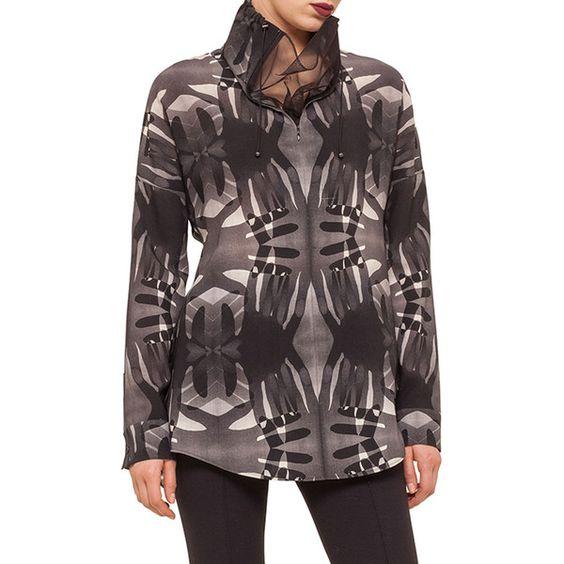 Akris punto Mesh-Inset Funnel-Neck Handprint Blouse ($1,050) ❤ liked on Polyvore featuring tops, blouses, black denim, pattern blouse, black top, black blouse, black long sleeve top and zipper top