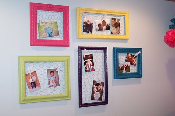 chicken wire photo frames for kitchen