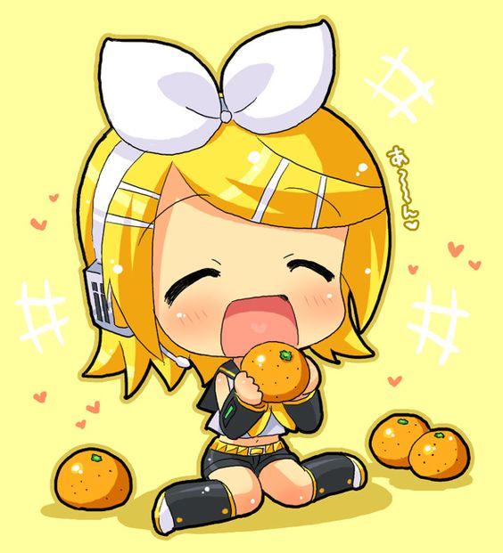 (Chibi with oranges) OMG its Rin kagamine