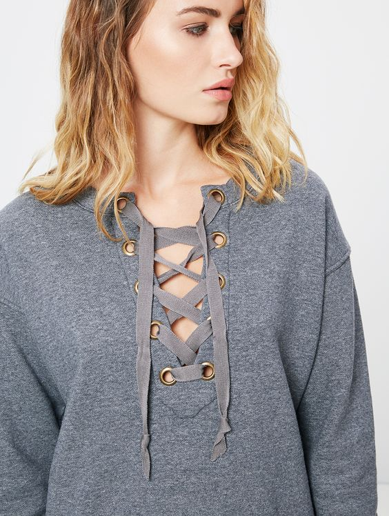 Mother Denim | tie-up sweater in charcoal gray