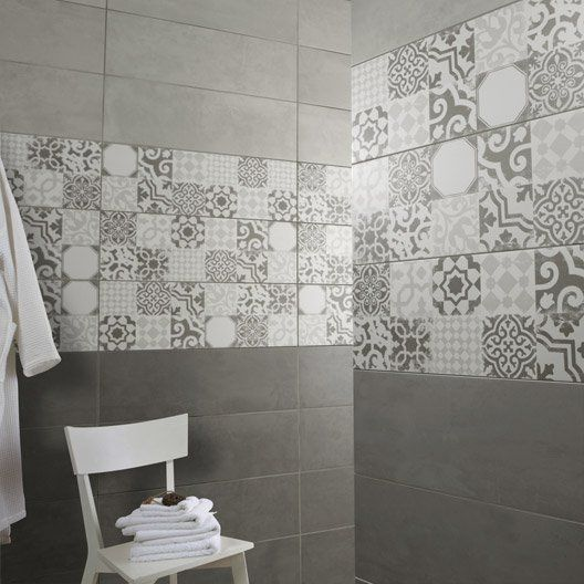 Carrelage mural tadelak premium en fa ence gris 25 x 75 for Decoration faience salle de bain
