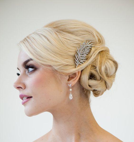 Wedding Hair Accessory, Rhinestone Feather Haircomb, Brooch Style Hair Comb. $49.00, via Etsy.