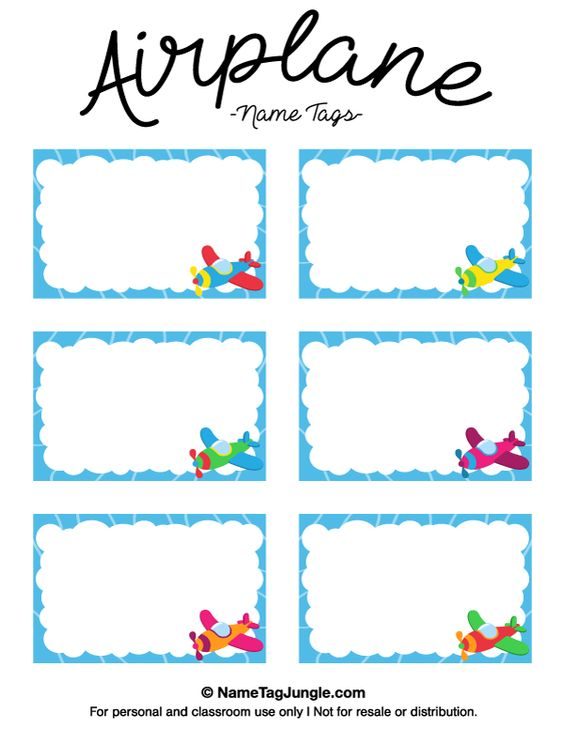 Free printable airplane name tags with a blue border and colorful airplanes the template can for Name tag template for kids