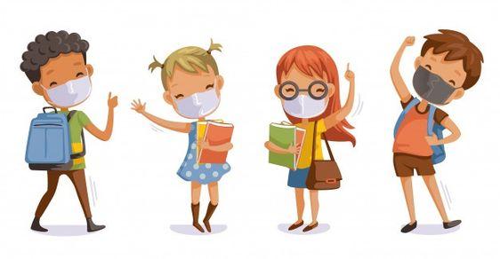 Back to school for new normal concept co... | Premium Vector #Freepik #vector #kids #children #medical #character