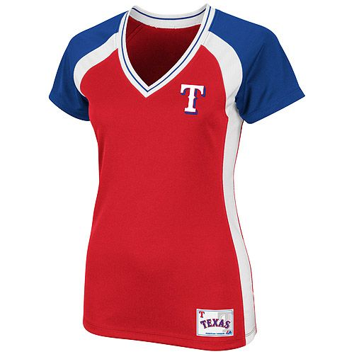 Texas Rangers Women's Opal Synthetic Top by Majestic Athletic