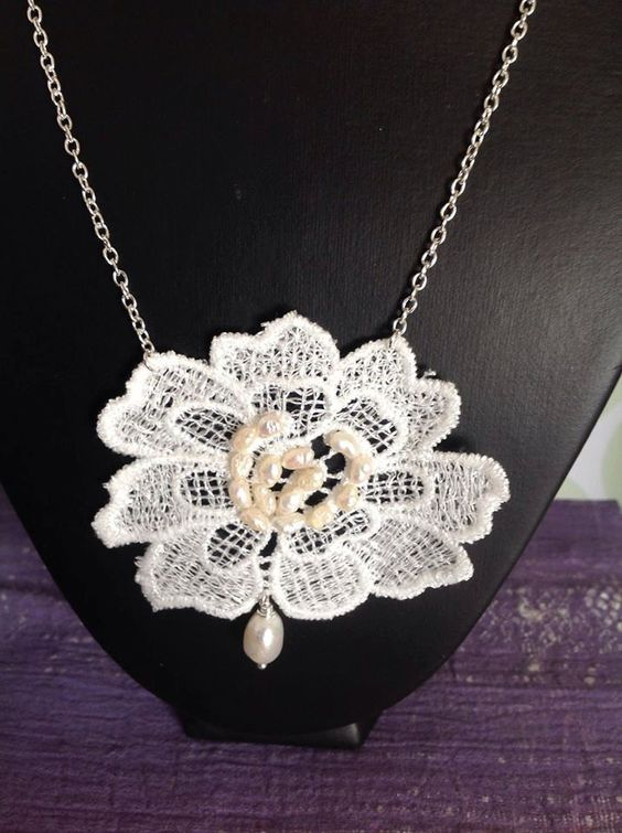Statement Lace Necklace with Pearl Embellishment by RosaJaanLoves on Etsy https://www.etsy.com/listing/246818774/statement-lace-necklace-with-pearl