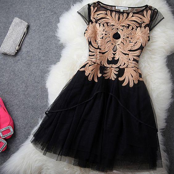 gabinete de alta qualidade da mulher primavera disco 2013 bordar flores gaze q5426 um vestido peça vestido de princesa em Vestidos de Roupas...