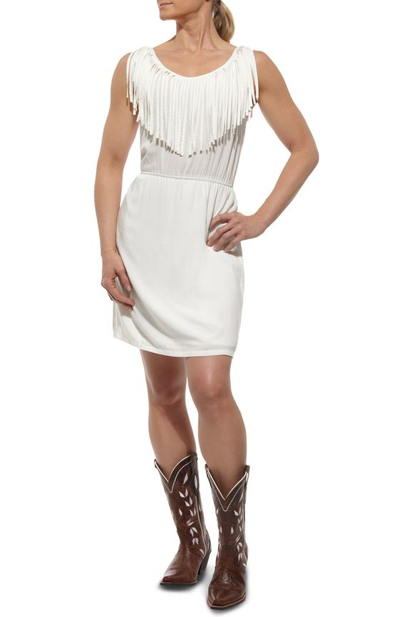 Ariat Womens Fringe Dress - White (Closeout) $35.98