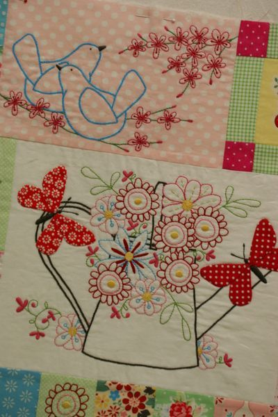 Down in the garden quilt love embroidery with