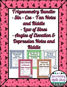 - Angles of Elevation/Depression - Law of Sines - Riddle Worksheet ...