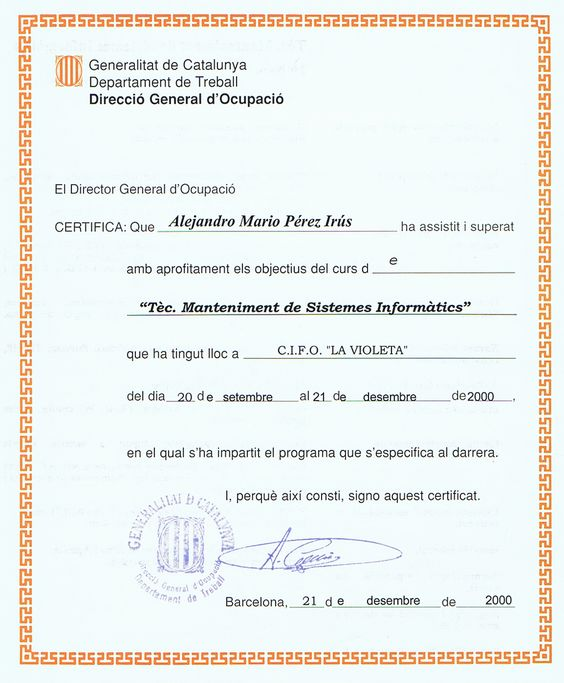 2000 09 Diplomas Cursos Mantenimiento de Sistemas Informaticos Seguridad Web realizado por Alejandro Perez Irus AlejandroPI