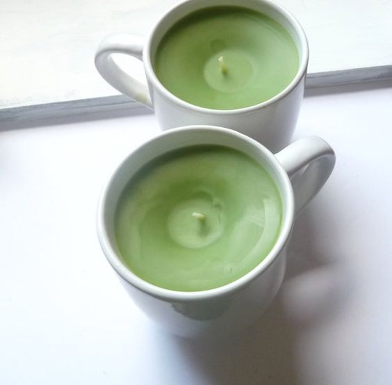 Green Tea Candle In Jumbo Ceramic Coffee Mug by Mylana on Etsy, $15.00