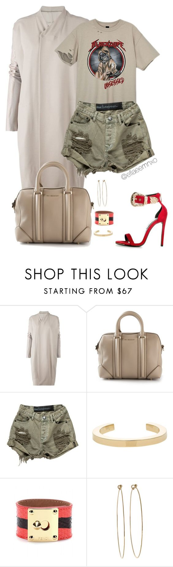 """""""Dope"""" by efiaeemnxo ❤ liked on Polyvore featuring Rick Owens, Givenchy, OneTeaspoon, Jennifer Fisher, Fendi and Dean Harris"""