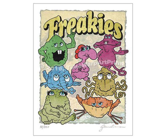 9 x 12 Cute Retro Freakies Cereal Monsters by TimeWarpArtPrints