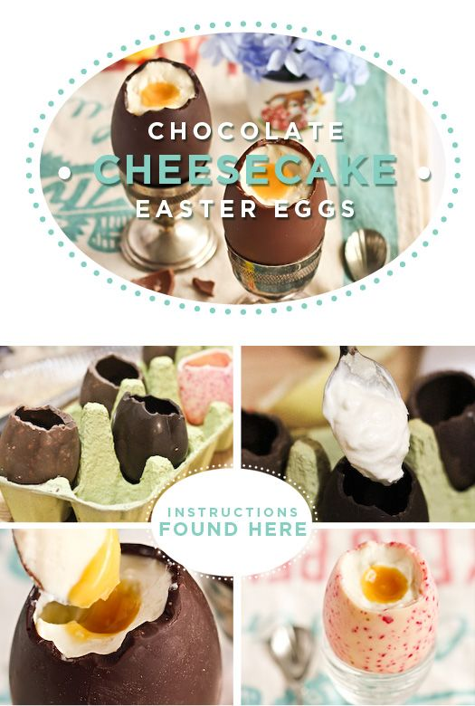 hollow chocolate eggs (made using chocolate molds-make sure they're eggs! Find on Amazon, or Costco), no bake cheese cake filling, and a fruit pudding-like sauce (peach, mango, apricot, passionfruit, etc.-just make sure it's yellow!)