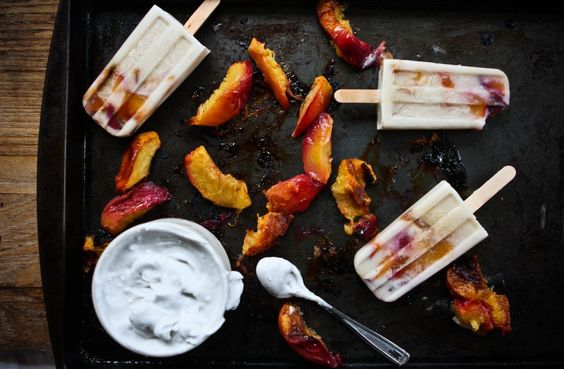 Roasted Peaches n' Coconut Cream Popsicles by @KatieDid: Coconut Popsicles, Peaches Coconut, Peaches Cream, Cream Popsicles, Ice Cream, Coconut Cream, 14Oz Coconut