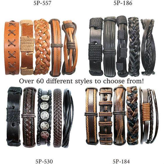 5 Piece Handmade Leather Bracelet Sets 50 by BraceletStreetUSA