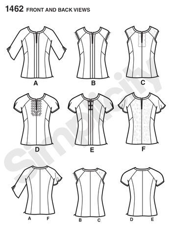 Misses' Top with Sleeve & Trim Variations: