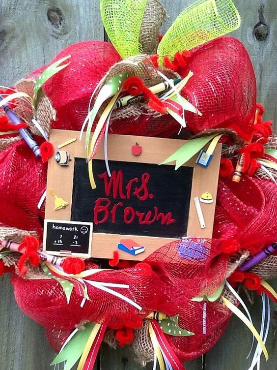 Personalized Teachers Apple Wreath