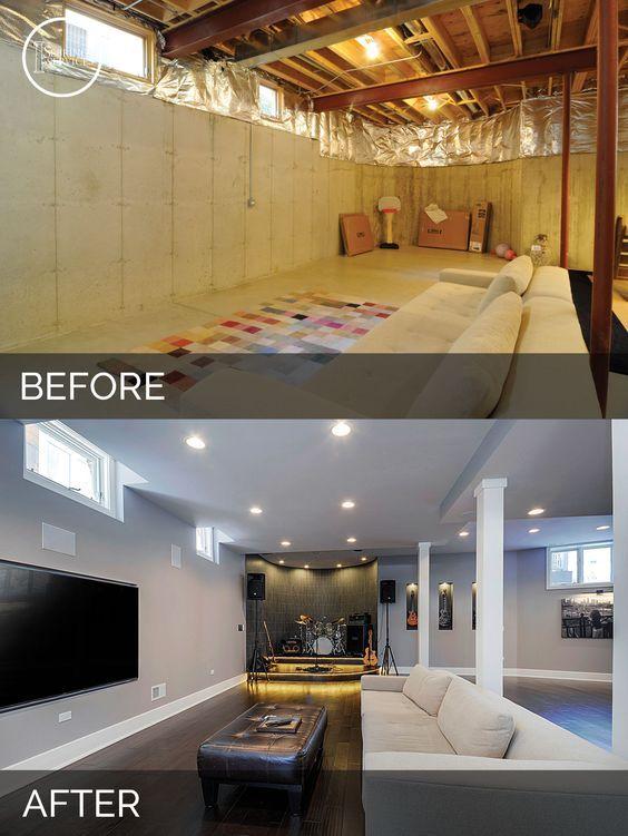 Basements Renovations Ideas sidd & nisha's basement before & after pictures | basements, men