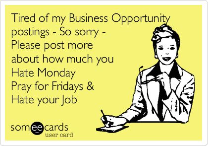 Tired of my Business Opportunity postings - So sorry - Please post more about how much you Hate Monday Pray for Fridays & Hate your Job.
