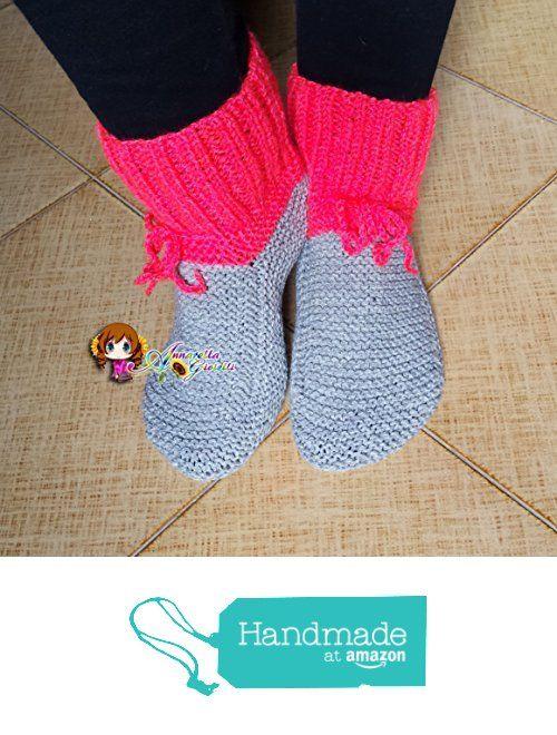 Scarpe da notte uncinetto, calze da notte, crochet, christmas, natale, lana, acrilico, socks, grigio, rosso, mix color, multicolor, grey, red, adulto, unisex, calde. da Annarella Gioielli https://www.amazon.it/dp/B01LWZ6859/ref=hnd_sw_r_pi_dp_SDO5xbMR9ZA7A #handmadeatamazon